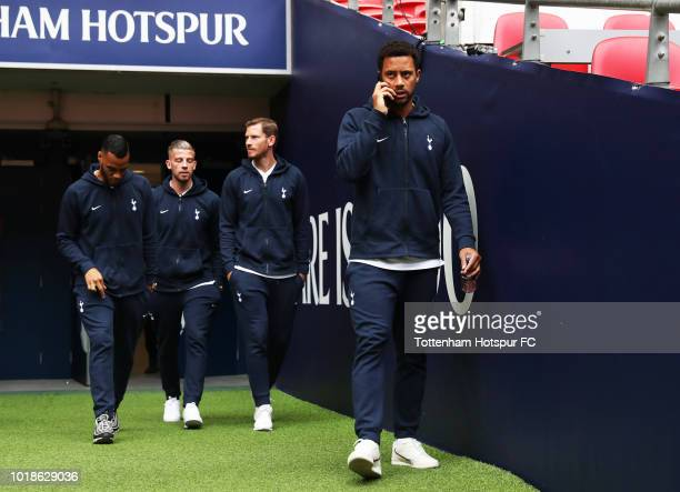 Mousa Dembele Jan Vertonghen Toby Alderweireld and Michel Vorm of Tottenham Hotspur walk out to inspect the pitch prior to the Premier League match...