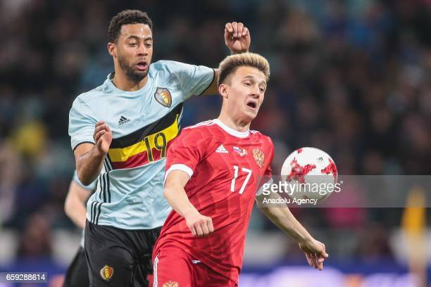 Mousa Dembele of Belgium in action against Alexander Golovin of Russia during the friendly match between Russia and Belgium at Fisht Olympic Stadium...