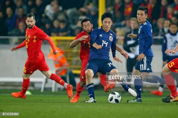 Mousa Dembele of Belgium Ryota Morioka of Japan during the International Friendly match between Belgium v Japan at the Jan Breydel Stadium on...