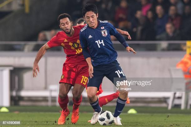 Mousa Dembele of Belgium Ryota Morioka of Japan during the friendly match between Belgium and Japan on November 14 2017 at the Jan Breydel stadium in...