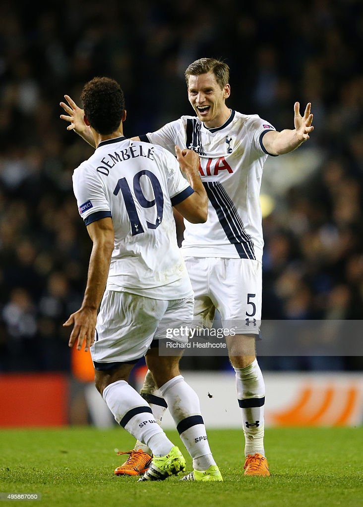 Mousa Dembele #19 of Spurs celebrates with teammate Jan Vertonghen of Spurs after scoring his team's second goal during the UEFA Europa League Group J match between Tottenham Hotspur FC and RSC Anderlecht at White Hart Lane on November 5, 2015 in London, United Kingdom.