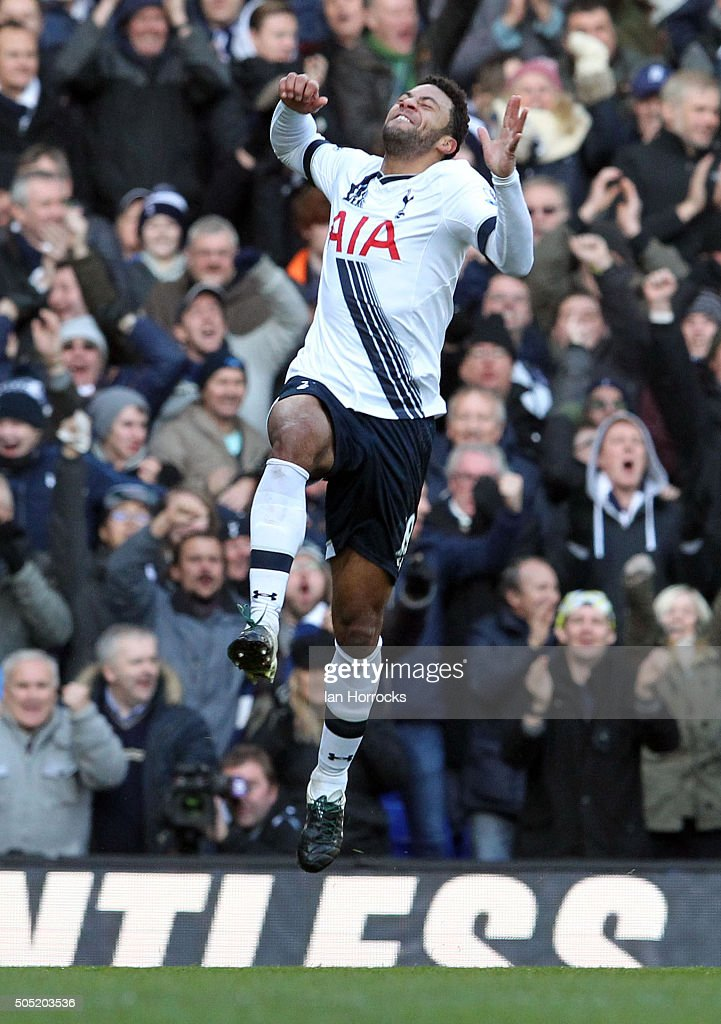 Mousa Dembele of Tottenham (#19) celebrates scoring the second Tottenham goal during the Barclays Premier League Match between Tottenham Hotspur and Sunderland at White Hart Lane on January 16, 2016 in London, England.