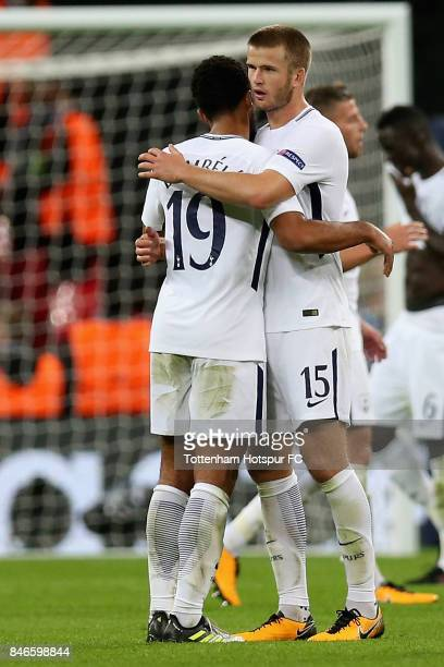Mousa Dembele of Tottenham Hotspur and Eric Dier of Tottenham Hotspur celebrates victory after the UEFA Champions League group H match between...