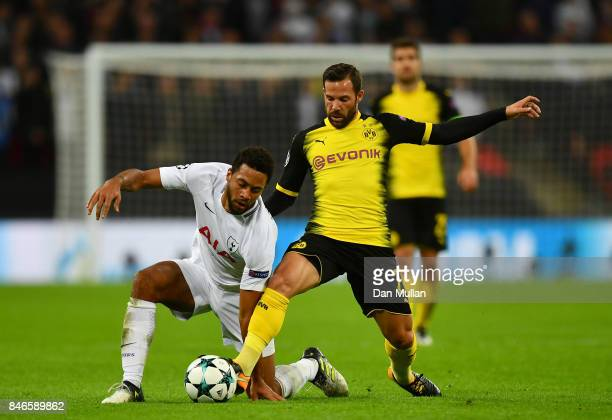 Mousa Dembele of Tottenham Hotspur and Gonzalo Castro of Borussia Dortmund battle for possession during the UEFA Champions League group H match...