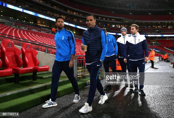 Mousa Dembele of Tottenham Hotspur and Michel Vorm of Tottenham Hotspur arrive at the stadium prior to the Premier League match between Tottenham...