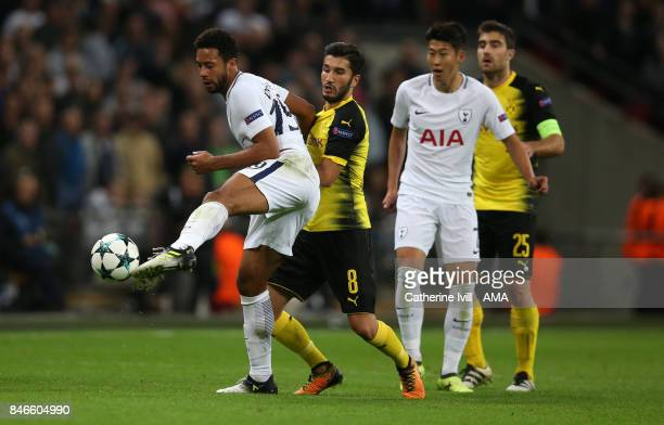 Mousa Dembele of Tottenham Hotspur and Nuri Sahin of Borussia Dortmund during the UEFA Champions League group H match between Tottenham Hotspur and...
