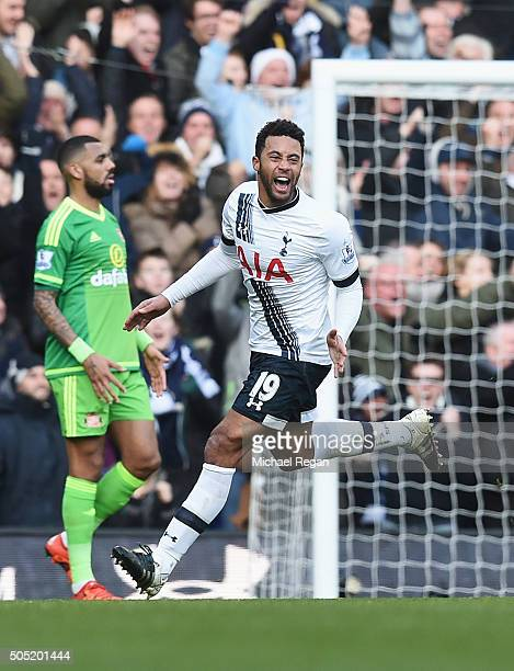 Mousa Dembele of Tottenham Hotspur celebrates scoring his team's second goal during the Barclays Premier League match between Tottenham Hotspur and...