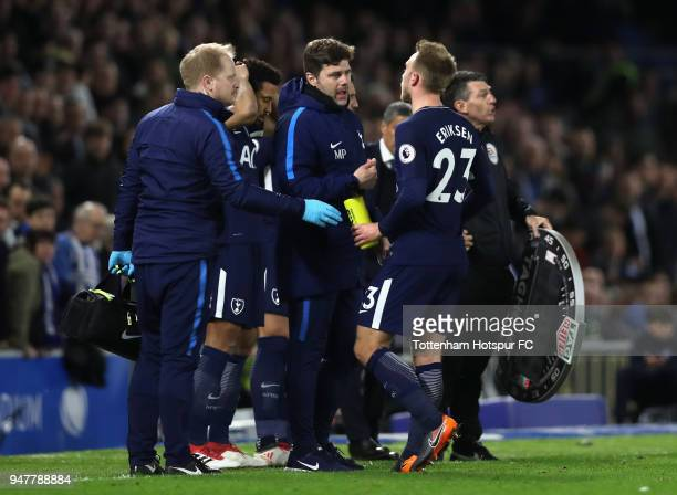 Mousa Dembele of Tottenham Hotspur comes on the pitch for Christian Eriksen of Tottenham Hotspur during the Premier League match between Brighton and...