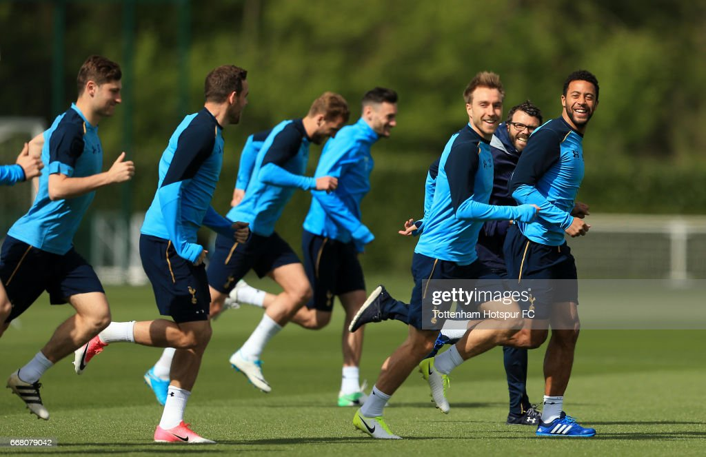 Mousa Dembele of Tottenham Hotspur during a Tottenham Hotspur Training Session on April 13, 2017 in Enfield, England.