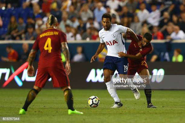 Mousa Dembele of Tottenham Hotspur in action against Bruno Peres of Roma during the International Champions Cup 2017 at Red Bull Arena on July 25,...