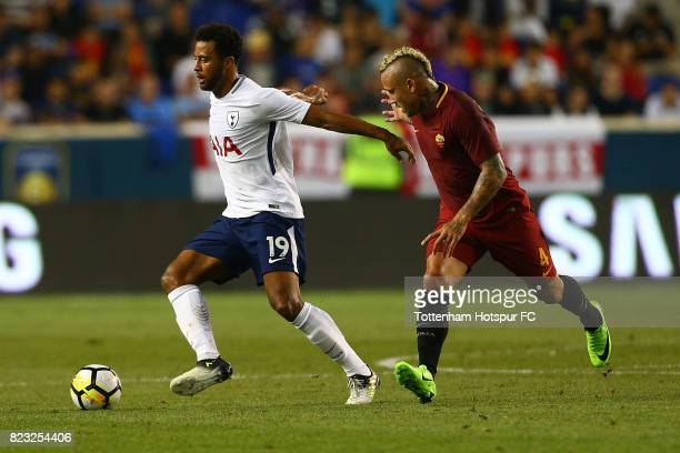 Mousa Dembele of Tottenham Hotspur in action against Radja Nainggolan of Roma during the International Champions Cup 2017 at Red Bull Arena on July...