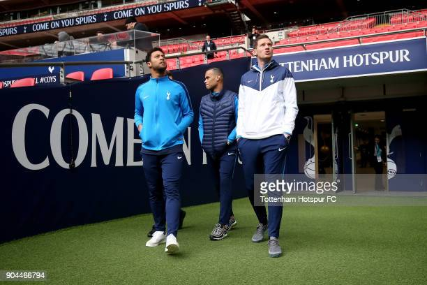 Mousa Dembele of Tottenham Hotspur Michel Vorm of Tottenham Hotspur and Jan Vertonghen of Tottenham Hotspur walk out to look around the stadium prior...