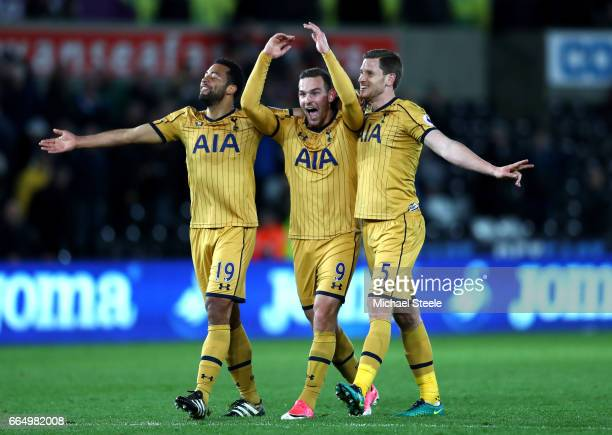 Mousa Dembele of Tottenham Hotspur Vincent Janssen of Tottenham Hotspur and Jan Vertonghen of Tottenham Hotspur celebrate after the Premier League...