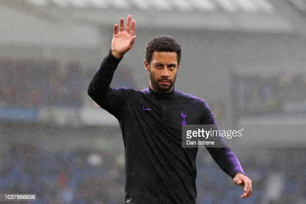 Mousa Dembele of Tottenham Hotspur waves to the fans during the warmup before the Premier League match between Brighton Hove Albion and Tottenham...