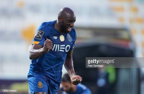 Mousa Marega of FC Porto celebrates his first goal during the Liga NOS match between Portimonense SC and FC Porto at Estadio Municipal de Portimao on...
