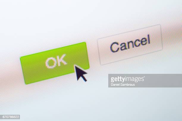 Mouse arrow clicking on a 'OK' button on computer screen