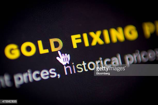 A mouse cursor is seen hovering over the words 'Gold Fixing' on the website of London Gold Market Fixing Ltd the company owned by the banks that...