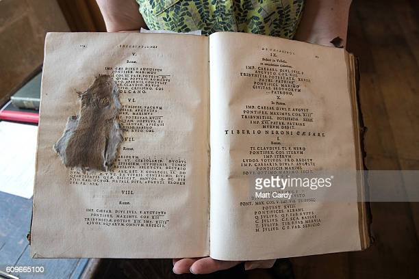 A mouse that was squashed by 19th century pupils at the Cathedral School in a Latin textbook that was published in 1684 is seen preserved in the...