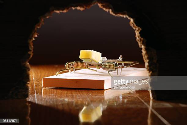 Mouse Trap and Cheese Seen Through Wall Hole