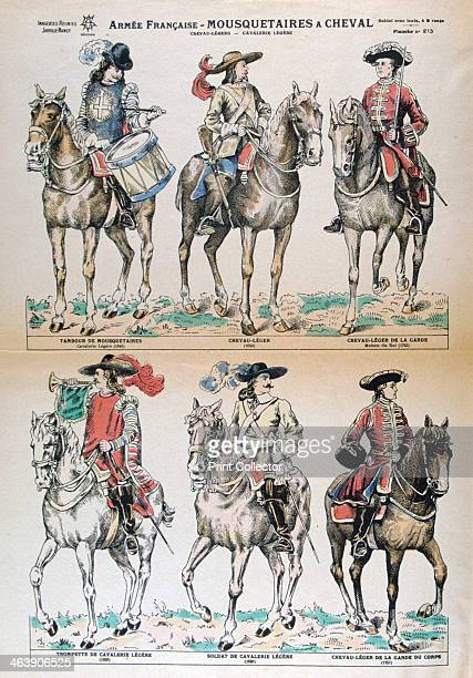 Mousquetaires a Cheval 17th Century French army uniforms Colour Lithograph Private collection