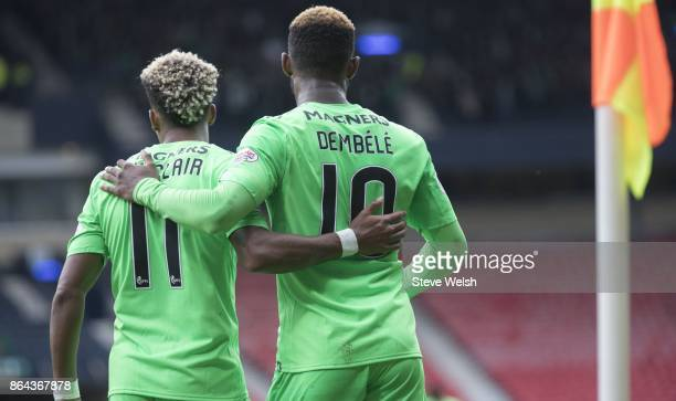 Moussa Dembele celebrates his 2nd goal with Scott Sinclair during the Betfred Cup SemiFinal at Hampden Park on October 21 2017 in Glasgow Scotland
