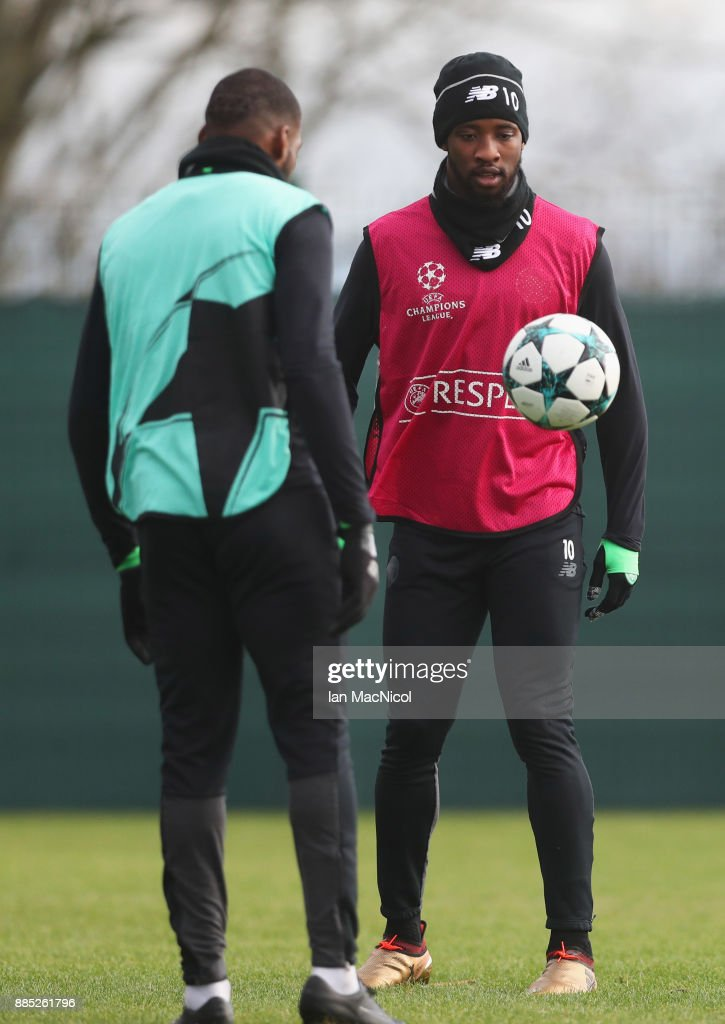 Moussa Dembele juggles the ball during a Celtic training session on the eve of their UEFA Champions League match against Anderlecht at Lennoxtown Training Ground on December 4, 2017 in Glasgow, Scotland.