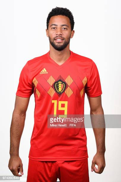 Moussa Dembele of Belgium poses for a portrait during the official FIFA World Cup 2018 portrait session at the Moscow Country Club on June 14 2018 in...