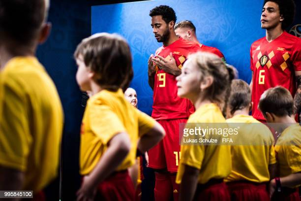 Moussa Dembele of Belgium prays in the tunnel prior to the 2018 FIFA World Cup Russia Semi Final match between Belgium and France at Saint Petersburg...