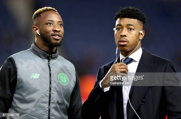 Moussa Dembele of Celtic and Presnel Kimpembe of PSG speak prior to the UEFA Champions League group B match between Paris SaintGermain and Celtic FC...