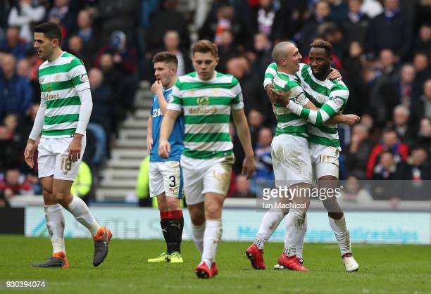 Moussa Dembele of Celtic celebrates after scoring his sides second goal with Scott Brown of Celtic during the Ladbrokes Scottish Premiership match...