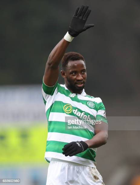 Moussa Dembele of Celtic celebrates at full time during the Ladbrokes Scottish Premiership match between St Johnstone and Celtic at McDiarmid Park at...
