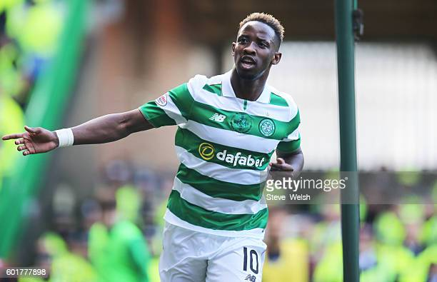 Moussa Dembele of Celtic celebrates his 2nd goal during the Ladbrokes Scottish Premiership match between Celtic and Rangers on September 10 2016 in...