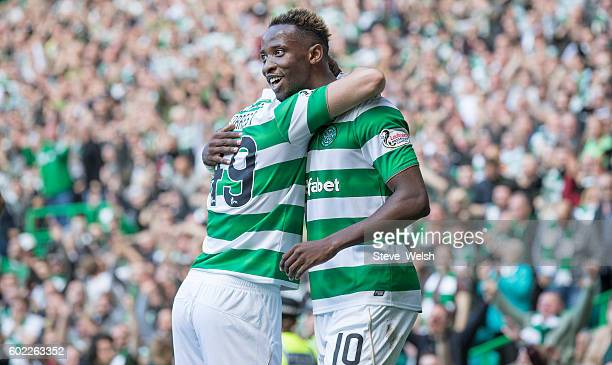 Moussa Dembele of Celtic celebrates his 2nd goal during the Ladbrokes Scottish Premiership match between Celtic and Rangers at Celtic Park on...