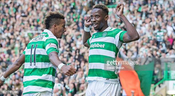 Moussa Dembele of Celtic celebrates his 2nd goal with Scott Sinclair during the Ladbrokes Scottish Premiership match between Celtic and Rangers at...