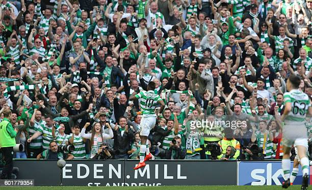 Moussa Dembele of Celtic celebrates his 3rd goal with during the Ladbrokes Scottish Premiership match between Celtic and Rangers on September 10 2016...