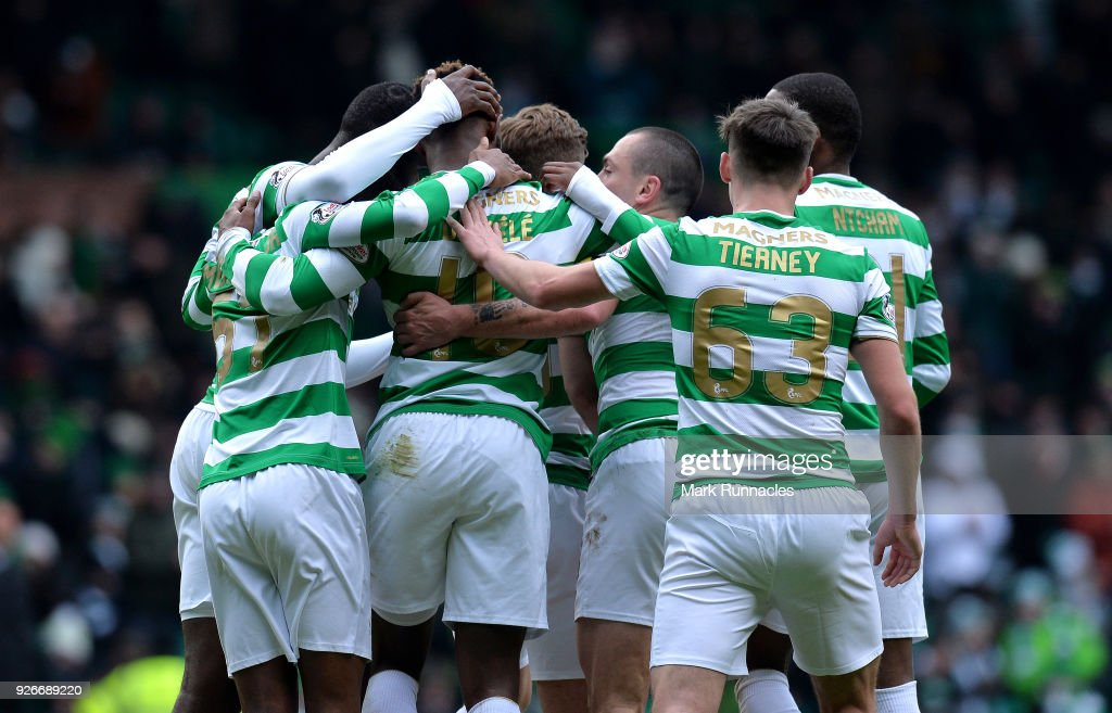 Moussa Dembele of Celtic celebrates scoring his second goal of the game with his team mates during the Scottish Cup Quarter Final match between Celtic and Greenock Morton at Celtic Park on March 3, 2018 in Glasgow, Scotland.