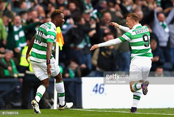 Moussa Dembele of Celtic celebrates scoring his sides first goal with Leigh Griffiths of Celtic during the Betfred Cup Semi Final match between...