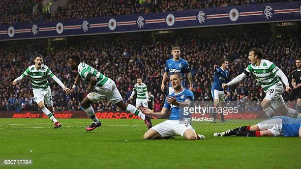 Moussa Dembele of Celtic celebrates scoring his team's first goal during the Ladbrokes Scottish Premiership match between Rangers and Celtic at Ibrox...