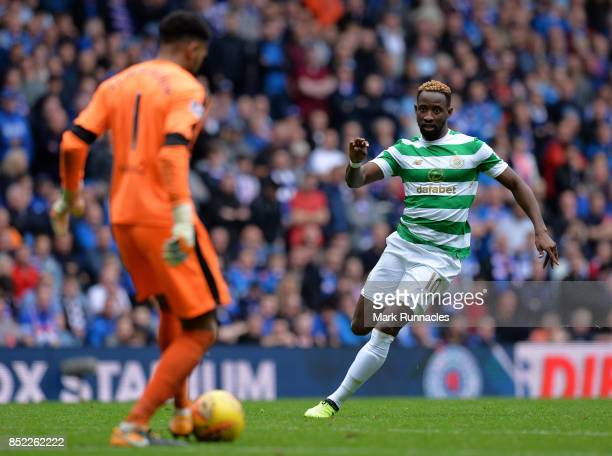 Moussa Dembele of Celtic closes down Wes Foderingham of Rangers during the Ladbrokes Scottish Premiership match between Rangers FC and Celtic FC at...