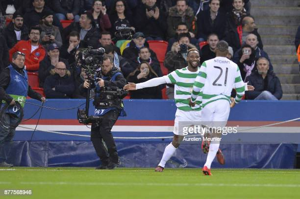 Moussa Dembele of Celtic Glasgow reacts after scoring during the UEFA Champions League group B match between Paris SaintGermain and Celtic Glasgow at...