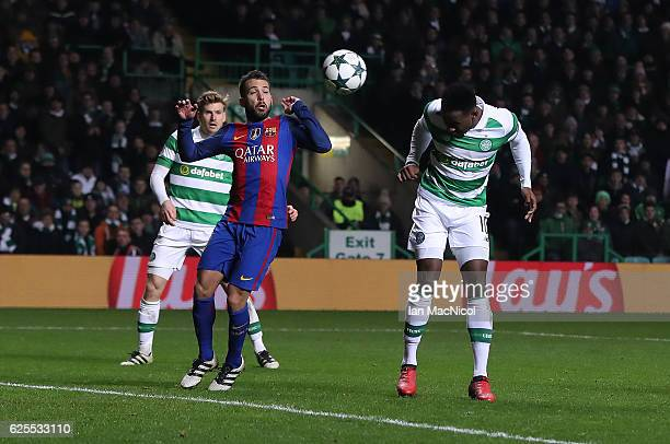 Moussa Dembele of Celtic heads at goal during the UEFA Champions League match between Celtic FC and FC Barcelona at Celtic Park Stadium on November...
