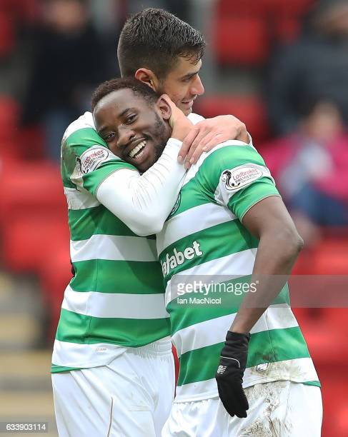 Moussa Dembele of Celtic is congratulated by Nir Bitton of Celtic after he scores his third goal during the Ladbrokes Scottish Premiership match...
