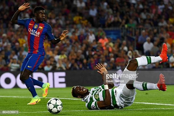 Moussa Dembele of Celtic is fouled by MarcAndre ter Stegen of Barcelona to win a penalty during the UEFA Champions League Group C match between FC...