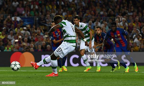 Moussa Dembele of Celtic misses a penalty during the UEFA Champions League Group C match between FC Barcelona and Celtic FC at Camp Nou on September...