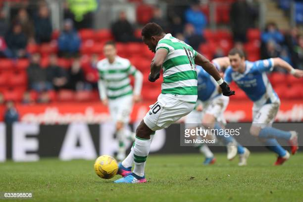 Moussa Dembele of Celtic scores from the penalty spot during the Ladbrokes Scottish Premiership match between St Johnstone and Celtic at McDiarmid...