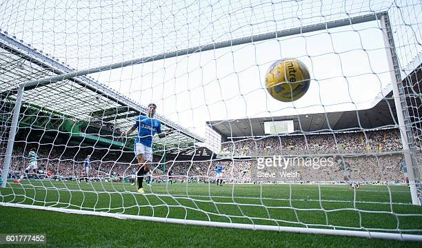Moussa Dembele of Celtic scores his 2nd goal during the Ladbrokes Scottish Premiership match between Celtic and Rangers on September 10 2016 in...