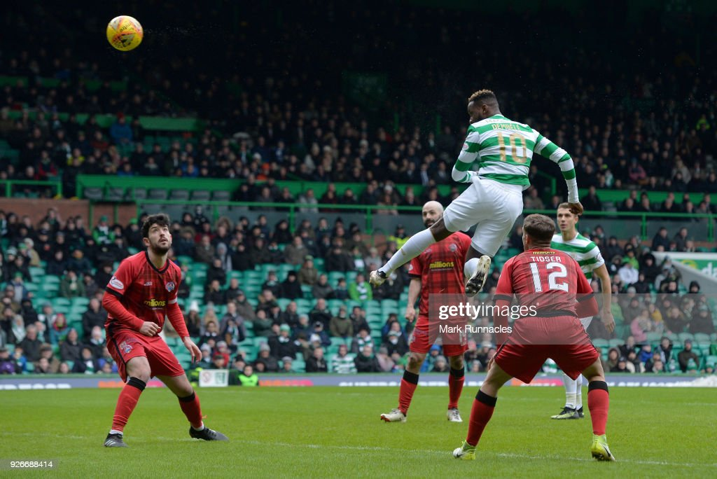 Moussa Dembele of Celtic scores his first goal of the game during the Scottish Cup Quarter Final match between Celtic and Greenock Morton at Celtic Park on March 3, 2018 in Glasgow, Scotland.