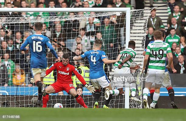 Moussa Dembele of Celtic scores his sides first goal during the Betfred Cup Semi Final match between Rangers and Celtic at Hampden Park on October 23...