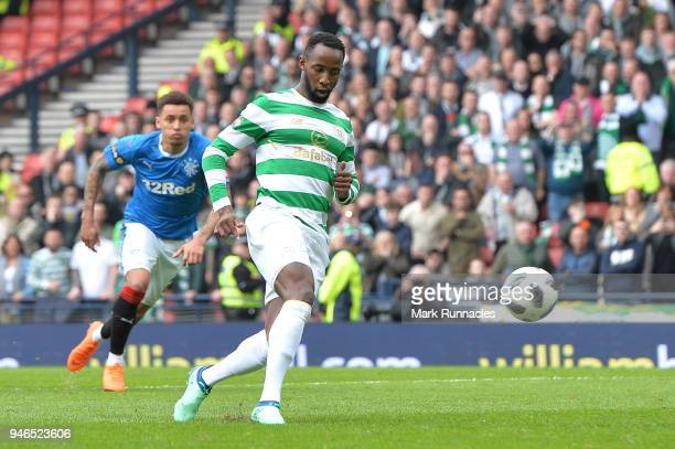 Moussa Dembele of Celtic scores his sides third goal from the penalty spot during the Scottish Cup Semi Final match between Rangers and Celtic at...