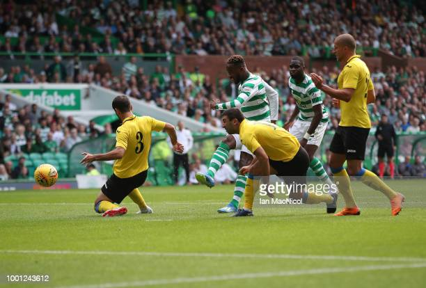 Moussa Dembele of Celtic scores the opening goal during the UEFA Champions League Qualifier between Celtic and Alashkert FC at Celtic Park on July 18...